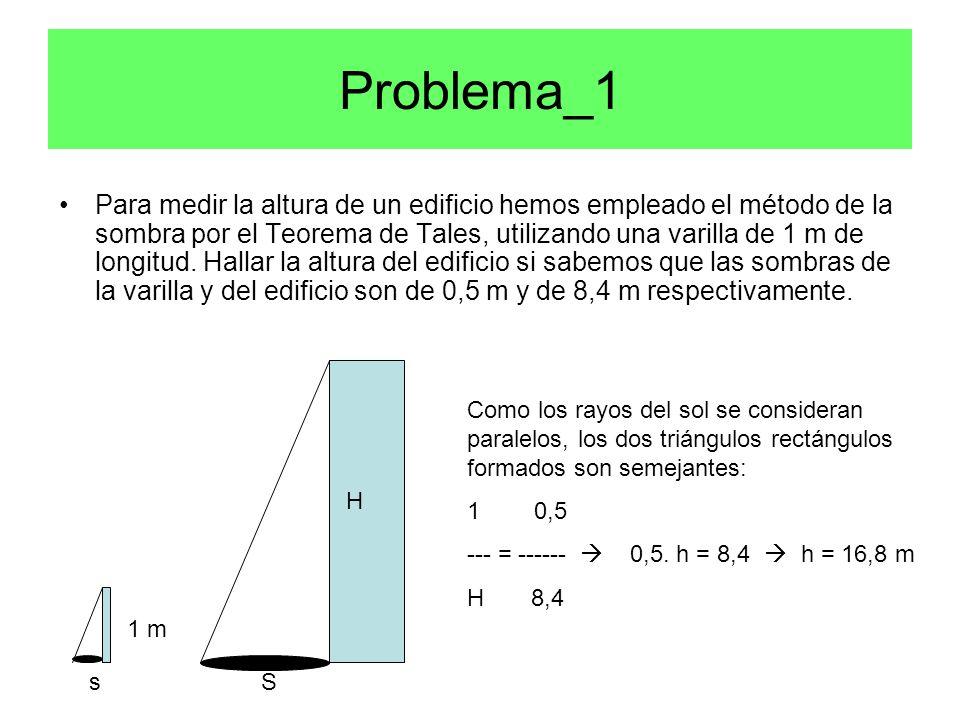 Problema_1 Para medir la altura de un edificio hemos empleado el método de la sombra por el Teorema de Tales, utilizando una varilla de 1 m de longitud.