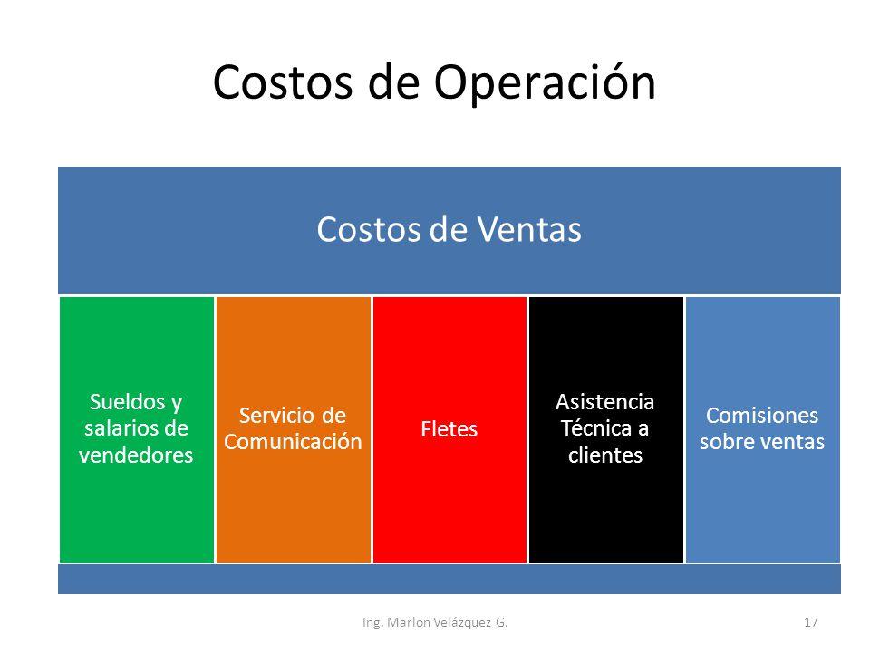 Costos de Operación Costos de Ventas Sueldos y salarios de vendedores Servicio de Comunicación Fletes Asistencia Técnica a clientes Comisiones sobre v
