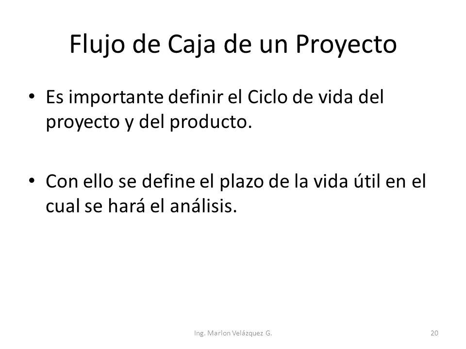 Flujo de Caja de un Proyecto Es importante definir el Ciclo de vida del proyecto y del producto. Con ello se define el plazo de la vida útil en el cua
