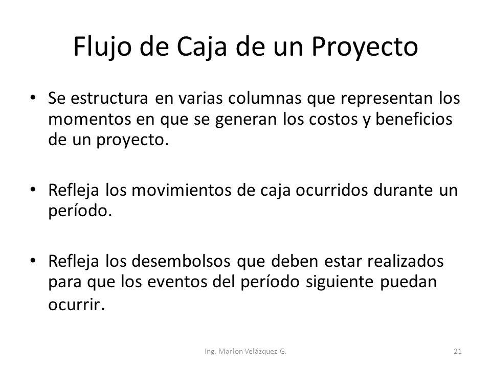 Flujo de Caja de un Proyecto Se estructura en varias columnas que representan los momentos en que se generan los costos y beneficios de un proyecto. R