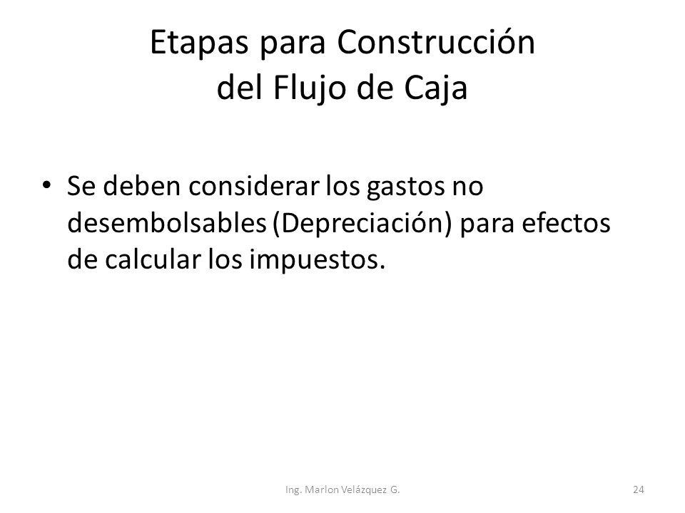 Etapas para Construcción del Flujo de Caja Se deben considerar los gastos no desembolsables (Depreciación) para efectos de calcular los impuestos. Ing