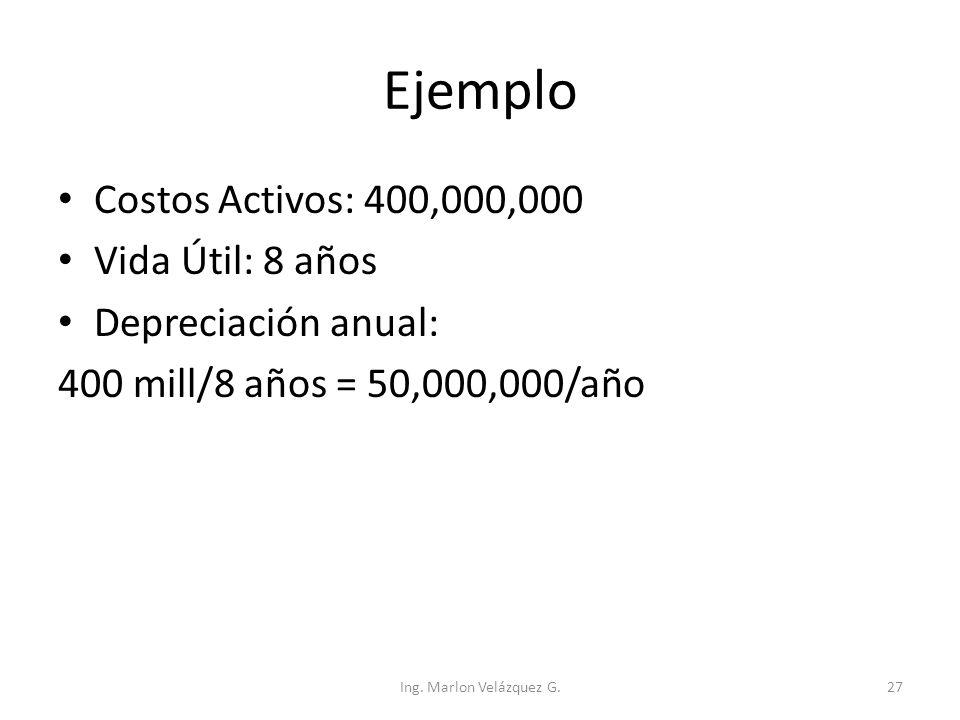 Ejemplo Costos Activos: 400,000,000 Vida Útil: 8 años Depreciación anual: 400 mill/8 años = 50,000,000/año Ing. Marlon Velázquez G.27