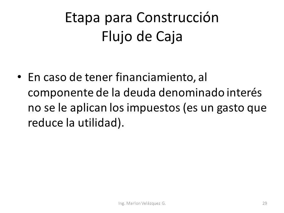 Etapa para Construcción Flujo de Caja En caso de tener financiamiento, al componente de la deuda denominado interés no se le aplican los impuestos (es
