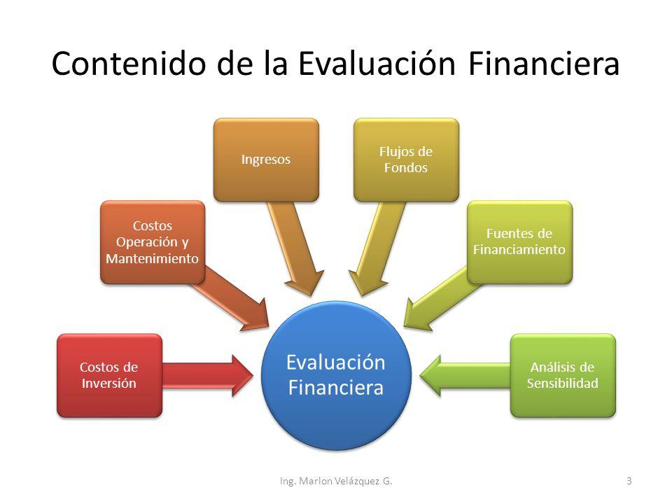 Contenido de la Evaluación Financiera Evaluación Financiera Costos de Inversión Costos Operación y Mantenimiento Ingresos Flujos de Fondos Fuentes de