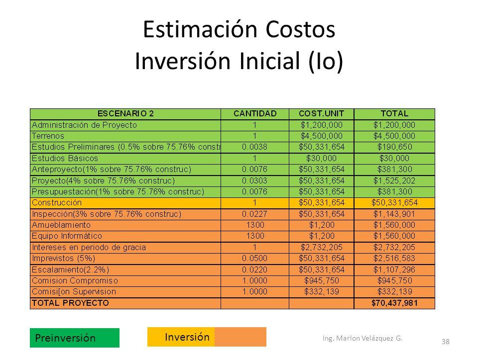 Estimación Costos Inversión Inicial (Io) Preinversión Inversión Ing. Marlon Velázquez G. 38