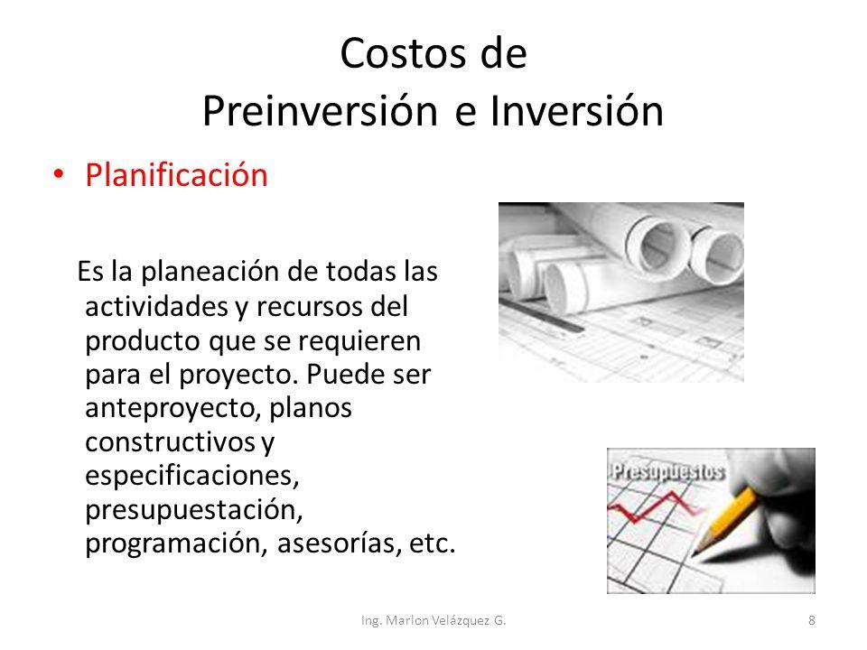 Costos de Preinversión e Inversión Desarrollo de recursos humanos Es formar o capacitar cierto personal que se desempeñará en la administración cuando el proyecto entre en funcionamiento Ing.