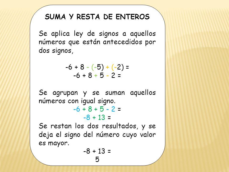la ley de los signos de la suma: