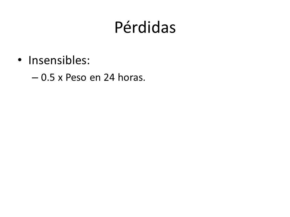 Insensibles: – 0.5 x Peso en 24 horas.