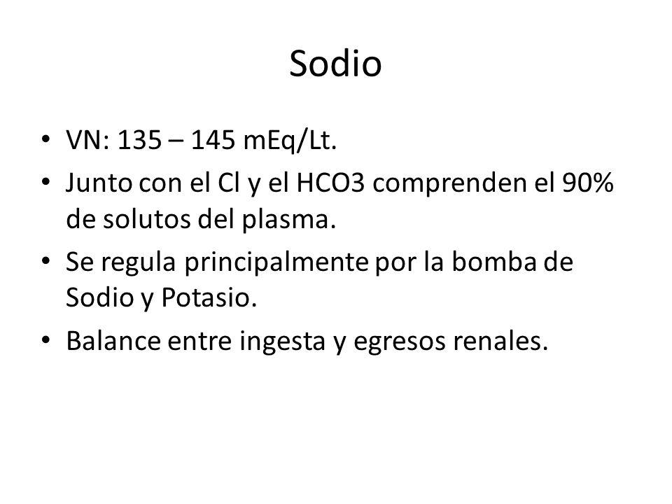 Sodio VN: 135 – 145 mEq/Lt.Junto con el Cl y el HCO3 comprenden el 90% de solutos del plasma.