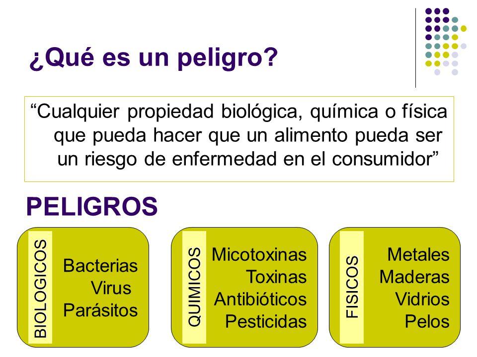 """¿Qué es un peligro? """"Cualquier propiedad biológica, química o física que pueda hacer que un alimento pueda ser un riesgo de enfermedad en el consumido"""