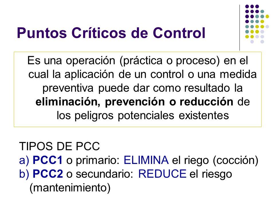 Puntos Críticos de Control Es una operación (práctica o proceso) en el cual la aplicación de un control o una medida preventiva puede dar como resultado la eliminación, prevención o reducción de los peligros potenciales existentes TIPOS DE PCC a) PCC1 o primario: ELIMINA el riego (cocción) b) PCC2 o secundario: REDUCE el riesgo (mantenimiento)