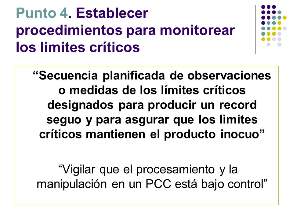 """Punto 4. Establecer procedimientos para monitorear los limites críticos """"Secuencia planificada de observaciones o medidas de los límites críticos desi"""