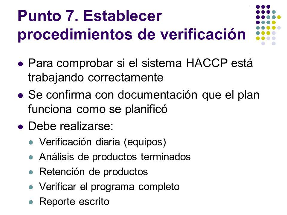 Punto 7. Establecer procedimientos de verificación Para comprobar si el sistema HACCP está trabajando correctamente Se confirma con documentación que