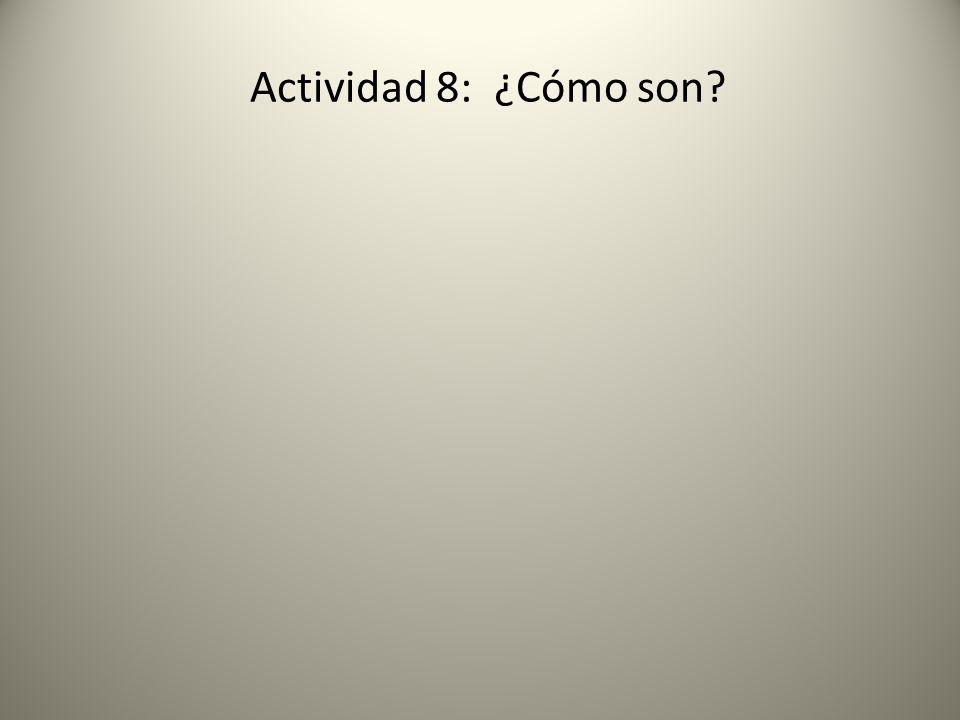 Actividad 8: ¿Cómo son