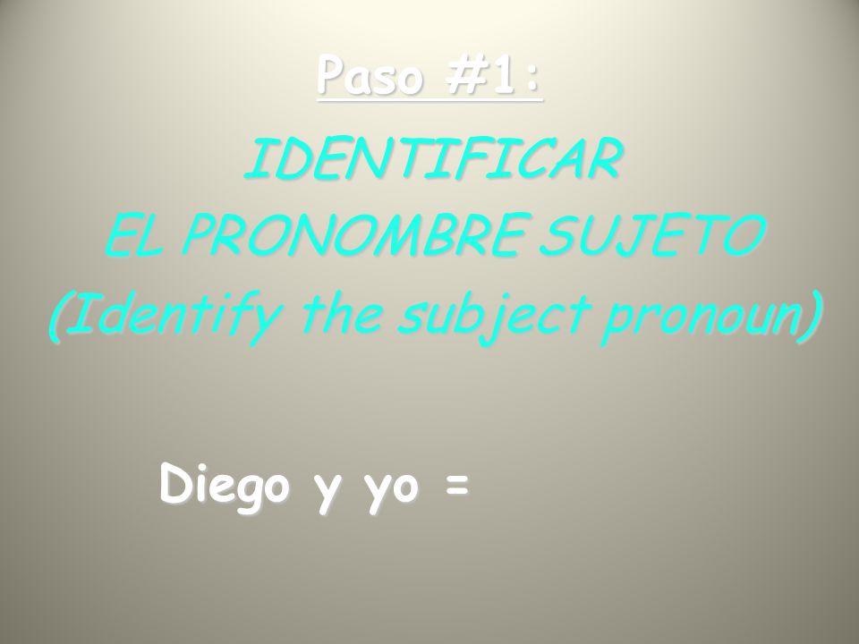 Paso #1: IDENTIFICAR EL PRONOMBRE SUJETO (Identify the subject pronoun) Diego y yo =
