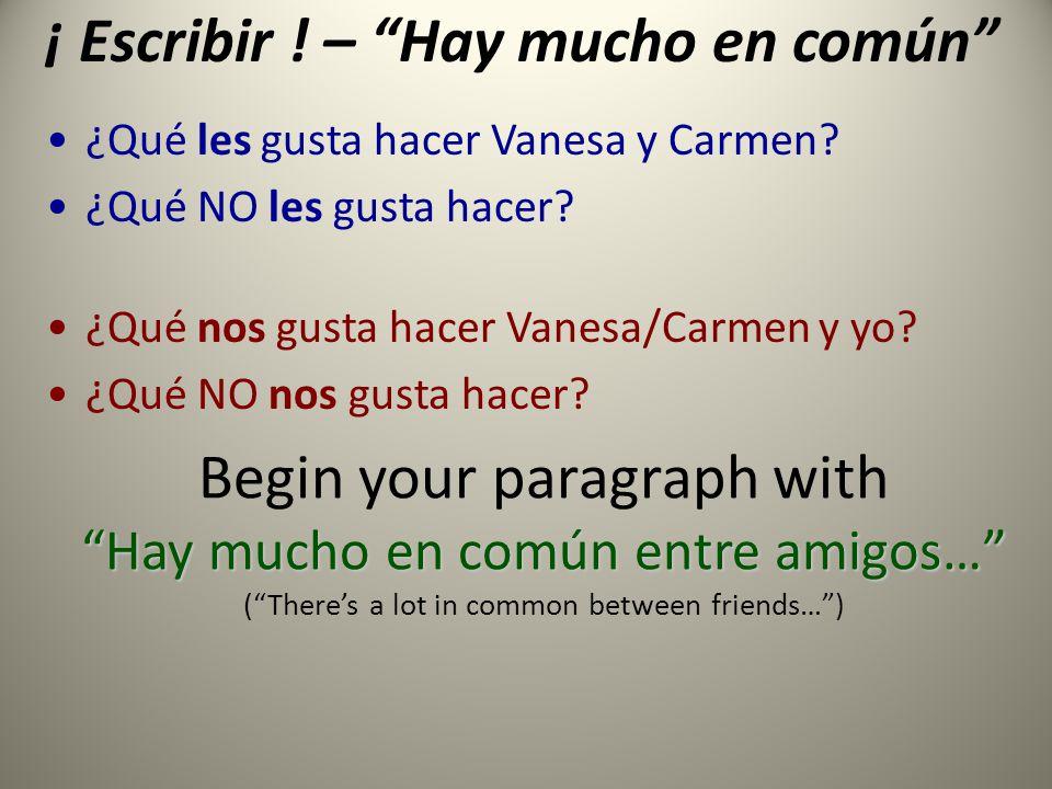 ¡ Escribir . – Hay mucho en común ¿Qué les gusta hacer Vanesa y Carmen.