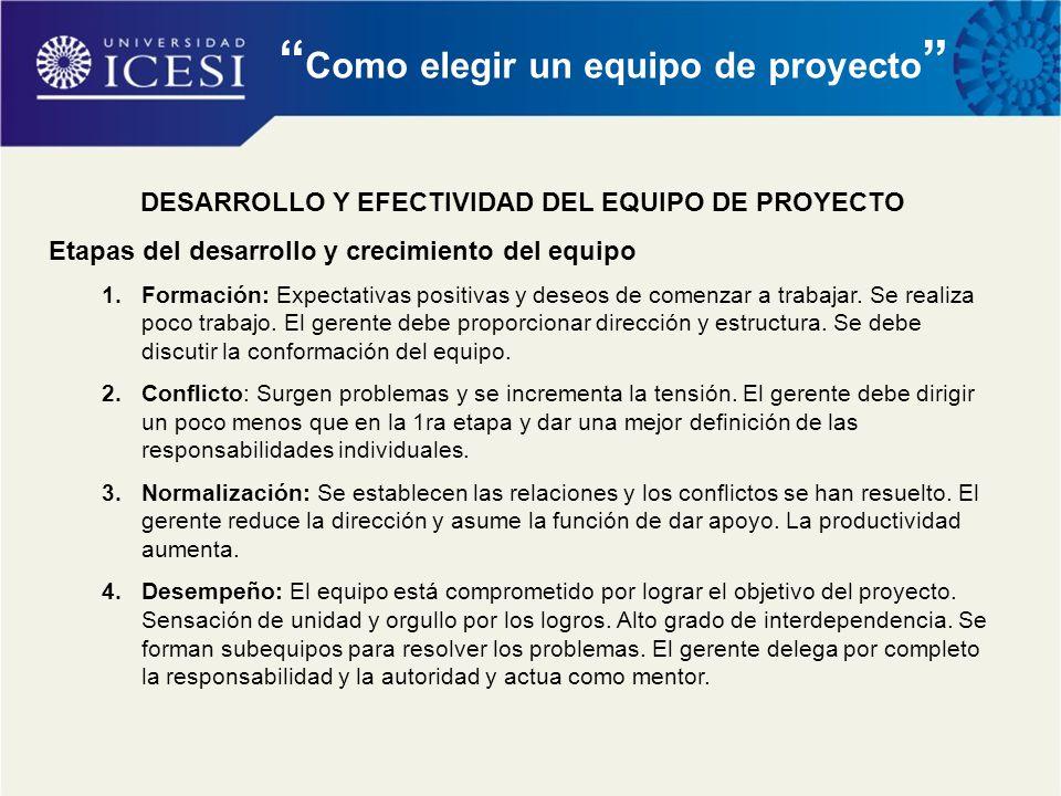 """"""" Como elegir un equipo de proyecto """" DESARROLLO Y EFECTIVIDAD DEL EQUIPO DE PROYECTO Etapas del desarrollo y crecimiento del equipo 1.Formación: Expe"""