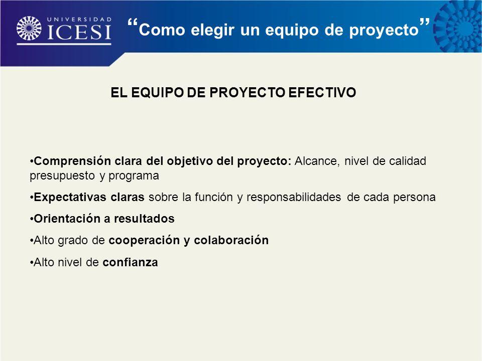 """"""" Como elegir un equipo de proyecto """" EL EQUIPO DE PROYECTO EFECTIVO Comprensión clara del objetivo del proyecto: Alcance, nivel de calidad presupuest"""