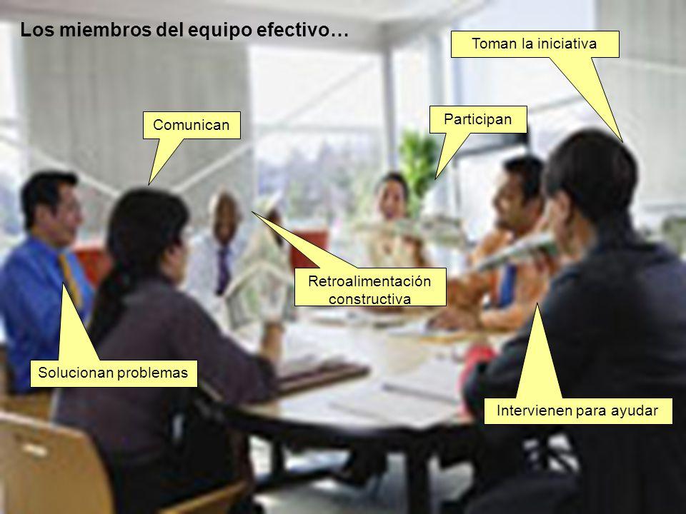 Los miembros del equipo efectivo… Participan Comunican Toman la iniciativa Retroalimentación constructiva Solucionan problemas Intervienen para ayudar