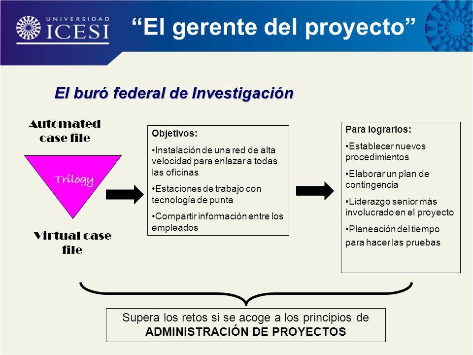 """El buró federal de Investigación """"El gerente del proyecto"""" Automated case file Virtual case file Objetivos: Instalación de una red de alta velocidad p"""