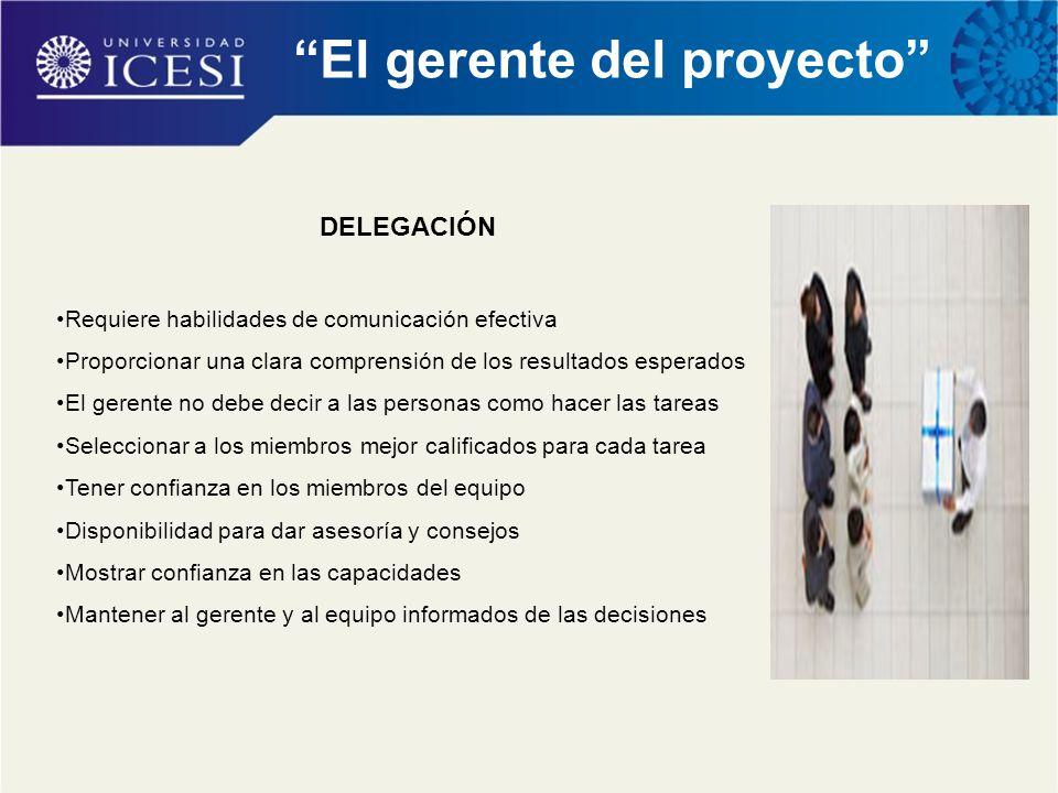 """""""El gerente del proyecto"""" DELEGACIÓN Requiere habilidades de comunicación efectiva Proporcionar una clara comprensión de los resultados esperados El g"""