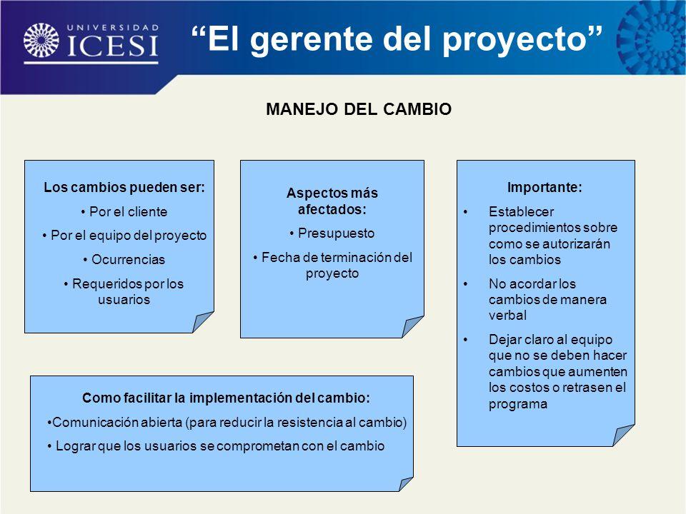 """""""El gerente del proyecto"""" MANEJO DEL CAMBIO Los cambios pueden ser: Por el cliente Por el equipo del proyecto Ocurrencias Requeridos por los usuarios"""
