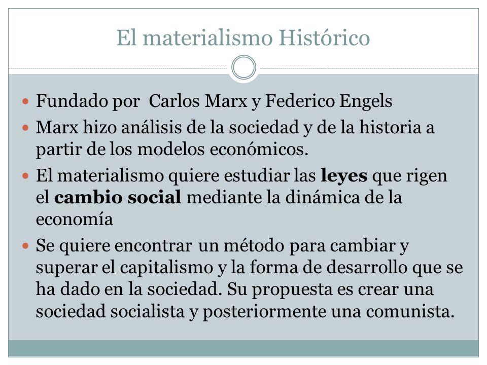 El materialismo Histórico Fundado por Carlos Marx y Federico Engels Marx hizo análisis de la sociedad y de la historia a partir de los modelos económicos.