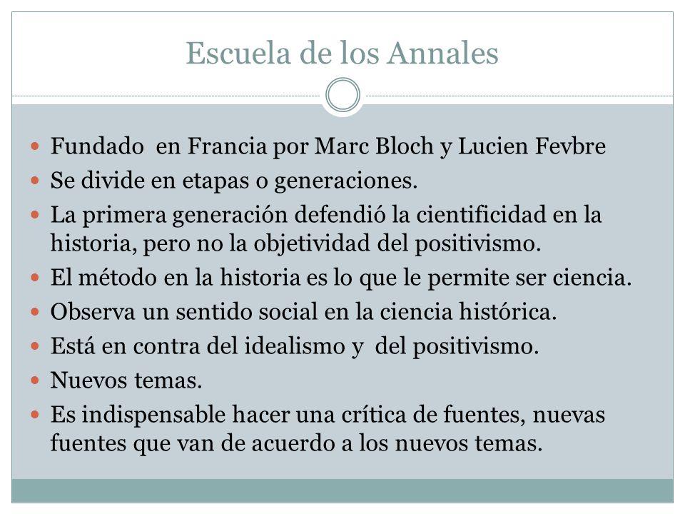 Escuela de los Annales Fundado en Francia por Marc Bloch y Lucien Fevbre Se divide en etapas o generaciones.