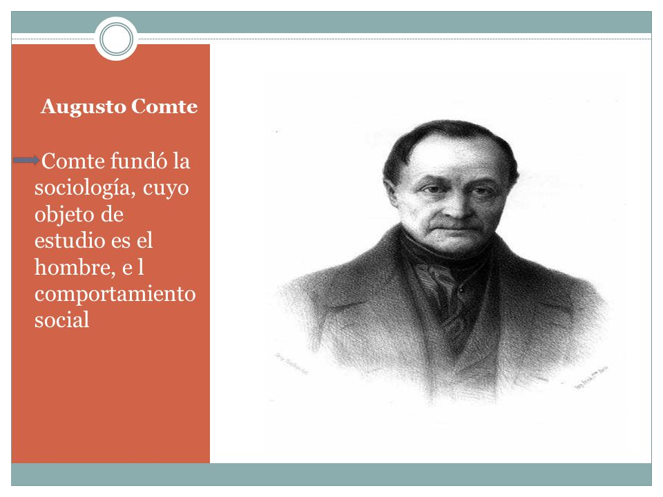 Augusto Comte Comte fundó la sociología, cuyo objeto de estudio es el hombre, e l comportamiento social