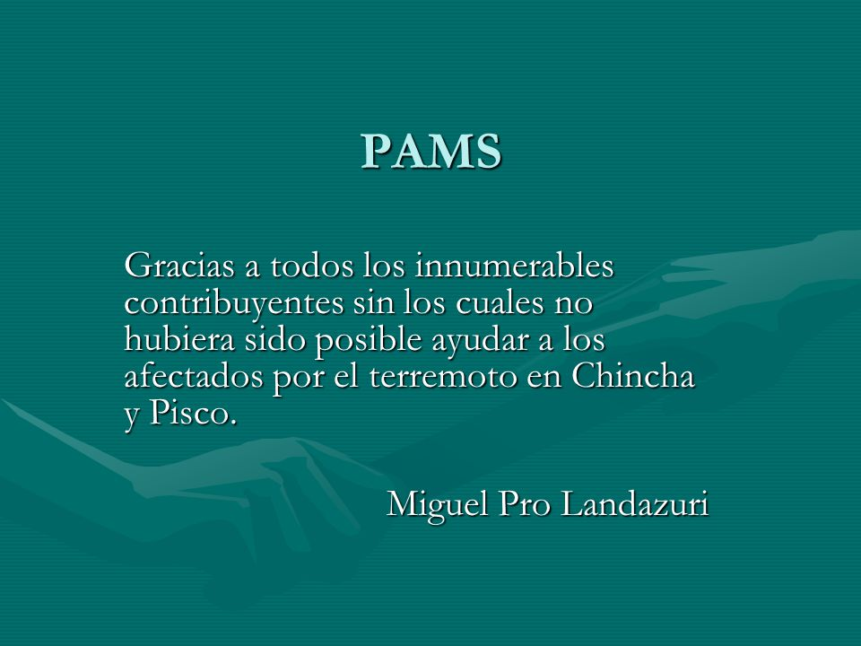 PAMS Gracias a todos los innumerables contribuyentes sin los cuales no hubiera sido posible ayudar a los afectados por el terremoto en Chincha y Pisco.