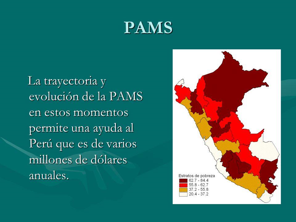PAMS La trayectoria y evolución de la PAMS en estos momentos permite una ayuda al Perú que es de varios millones de dólares anuales.
