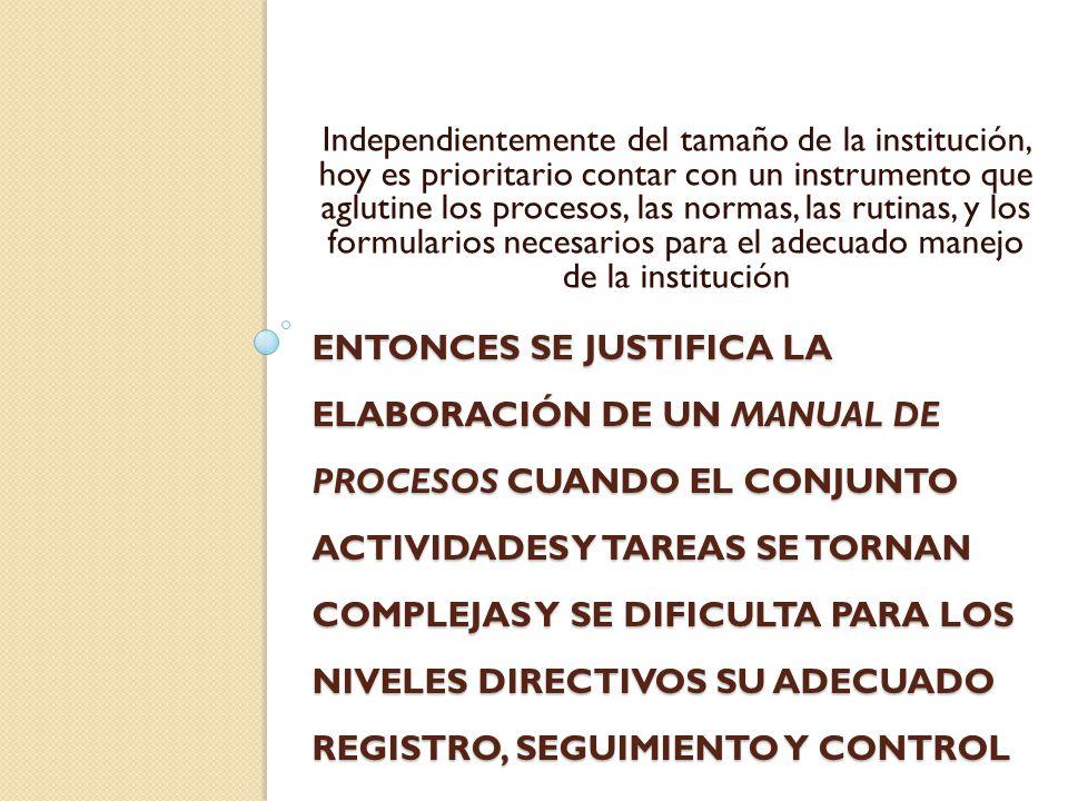 MANUAL DE PROCESOS Documento que registra el conjunto de procesos, discriminando en actividades y tareas que realiza un servicio, un departamento o toda la institución.