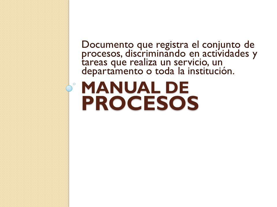 MANUAL DE PROCESOS Documento que registra el conjunto de procesos, discriminando en actividades y tareas que realiza un servicio, un departamento o to