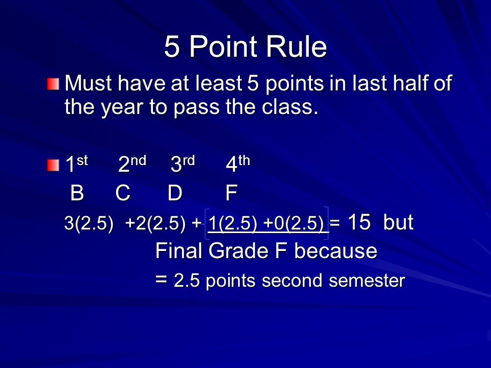 5 Point Rule Must have at least 5 points in last half of the year to pass the class.