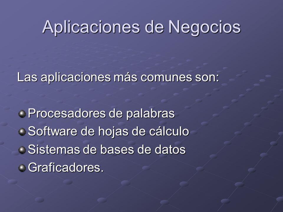 Aplicaciones de Negocios Las aplicaciones más comunes son: Procesadores de palabras Software de hojas de cálculo Sistemas de bases de datos Graficadores.