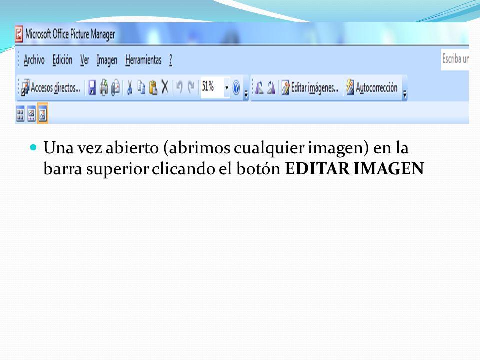 Una vez abierto (abrimos cualquier imagen) en la barra superior clicando el botón EDITAR IMAGEN