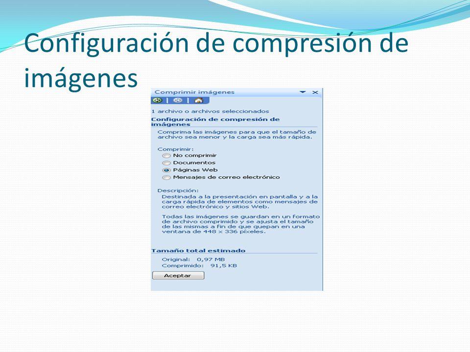 Configuración de compresión de imágenes