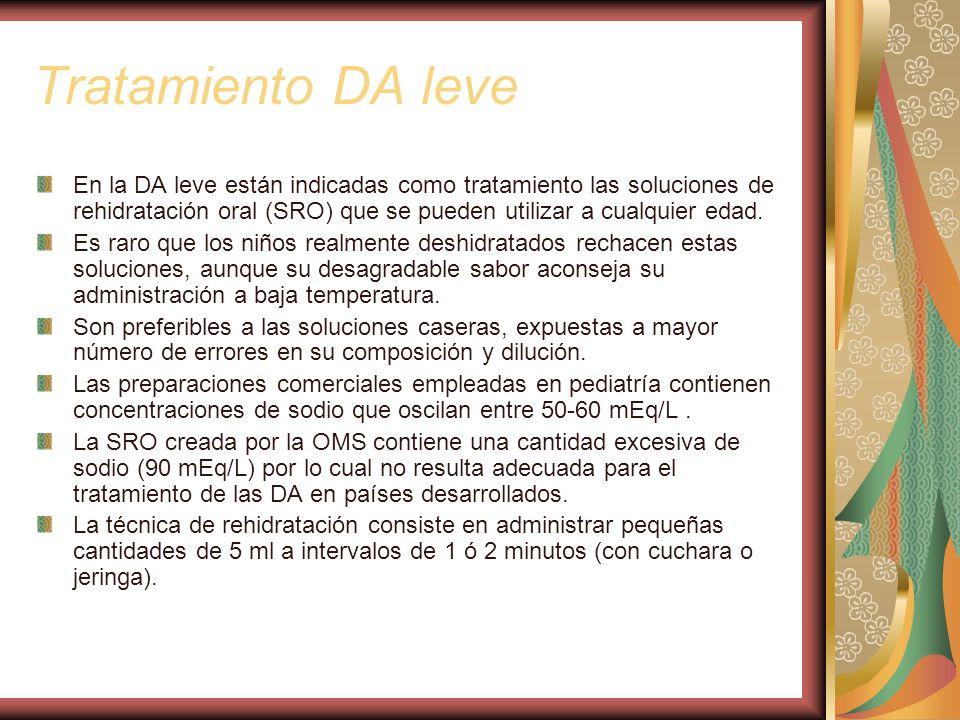 Tratamiento DA leve En la DA leve están indicadas como tratamiento las soluciones de rehidratación oral (SRO) que se pueden utilizar a cualquier edad.