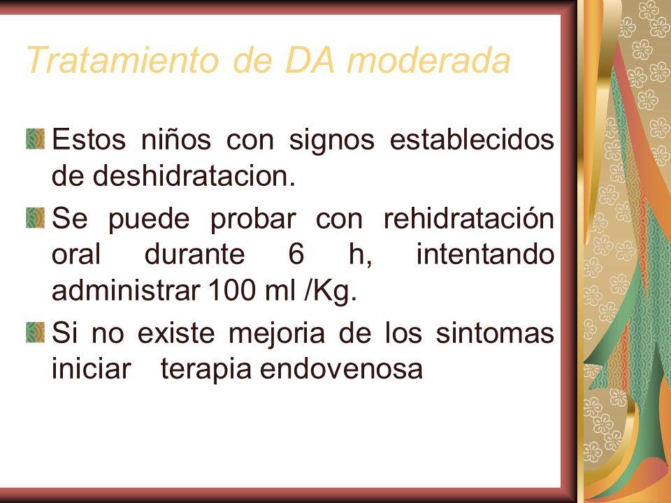 Tratamiento de DA moderada Estos niños con signos establecidos de deshidratacion.