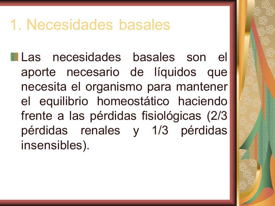 1. Necesidades basales Las necesidades basales son el aporte necesario de líquidos que necesita el organismo para mantener el equilibrio homeostático