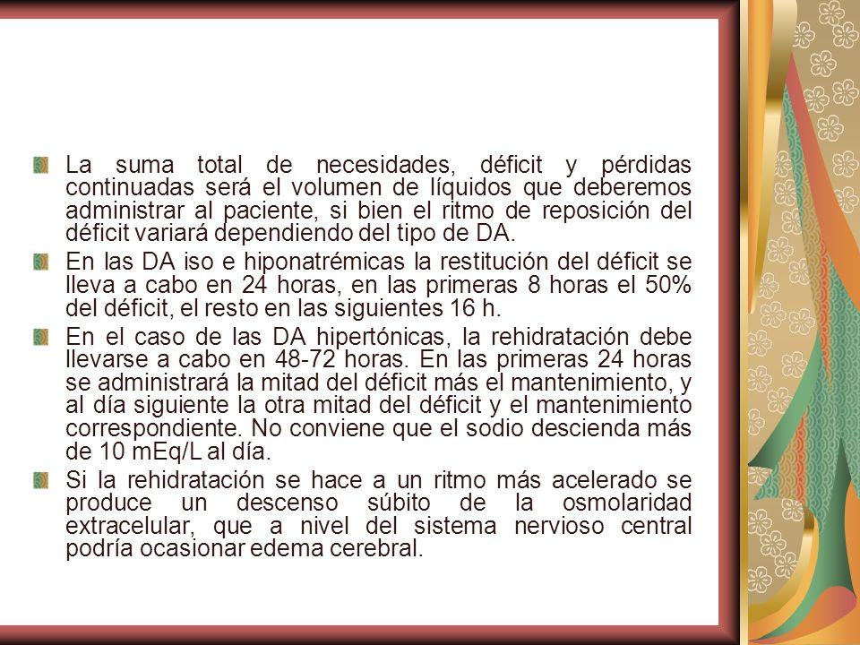 La suma total de necesidades, déficit y pérdidas continuadas será el volumen de líquidos que deberemos administrar al paciente, si bien el ritmo de reposición del déficit variará dependiendo del tipo de DA.