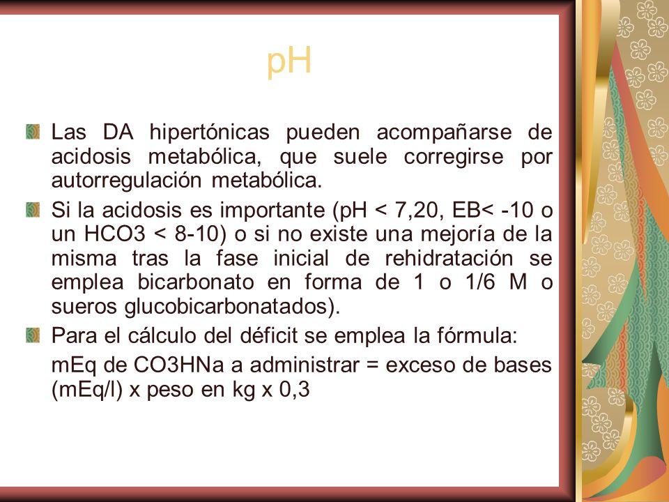 pH Las DA hipertónicas pueden acompañarse de acidosis metabólica, que suele corregirse por autorregulación metabólica.