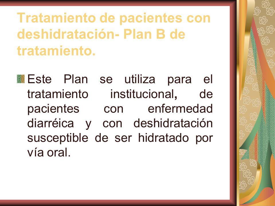 Tratamiento de pacientes con deshidratación- Plan B de tratamiento.