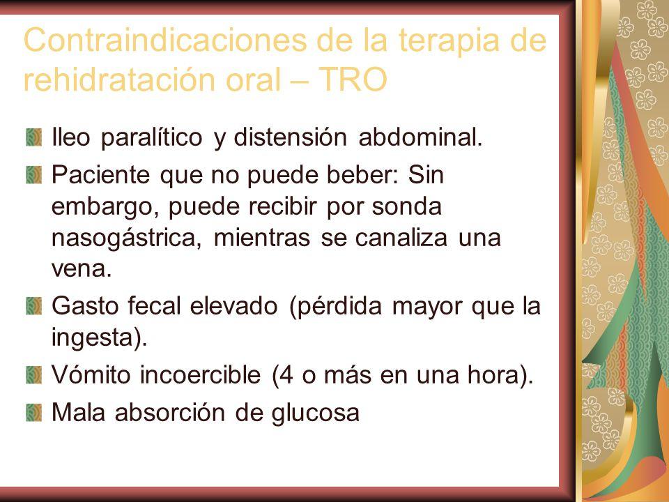 Contraindicaciones de la terapia de rehidratación oral – TRO Ileo paralítico y distensión abdominal.