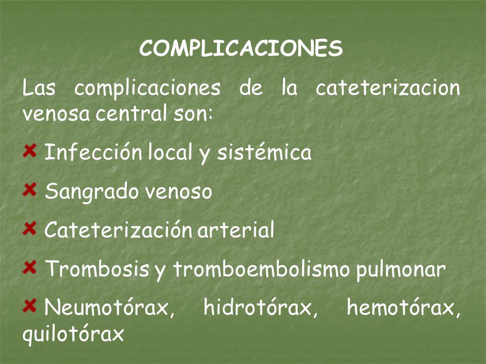 COMPLICACIONES Las complicaciones de la cateterizacion venosa central son: Infección local y sistémica Sangrado venoso Cateterización arterial Trombosis y tromboembolismo pulmonar Neumotórax, hidrotórax, hemotórax, quilotórax