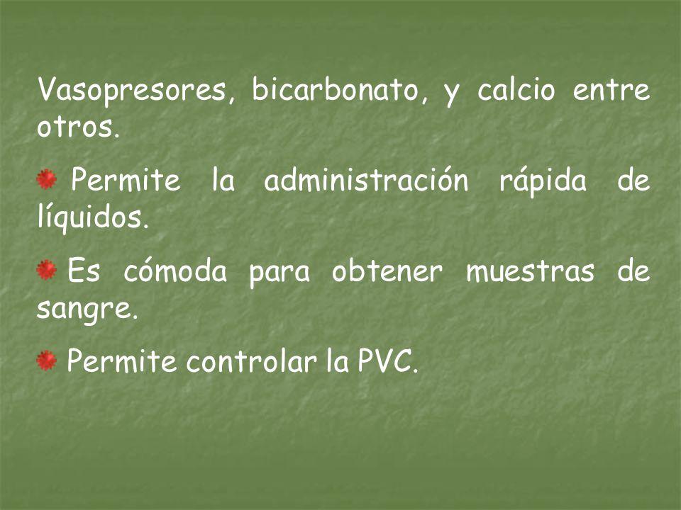 Vasopresores, bicarbonato, y calcio entre otros.Permite la administración rápida de líquidos.