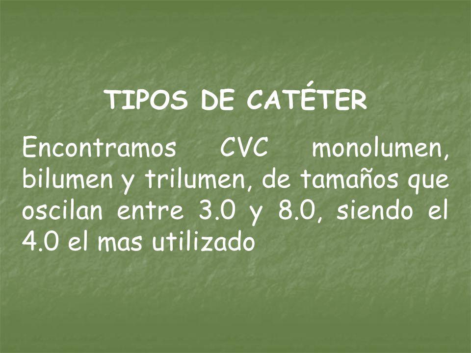TIPOS DE CATÉTER Encontramos CVC monolumen, bilumen y trilumen, de tamaños que oscilan entre 3.0 y 8.0, siendo el 4.0 el mas utilizado