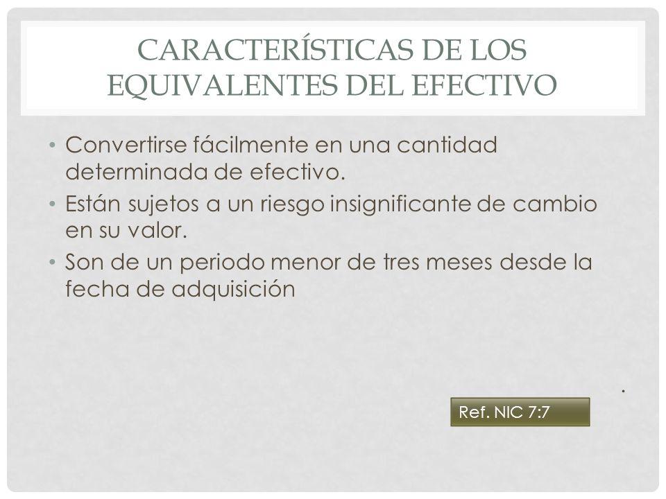 CARACTERÍSTICAS DE LOS EQUIVALENTES DEL EFECTIVO Convertirse fácilmente en una cantidad determinada de efectivo. Están sujetos a un riesgo insignifica