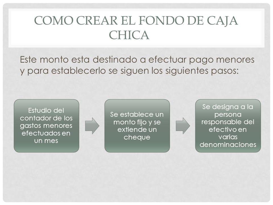 COMO CREAR EL FONDO DE CAJA CHICA Este monto esta destinado a efectuar pago menores y para establecerlo se siguen los siguientes pasos: Estudio del co