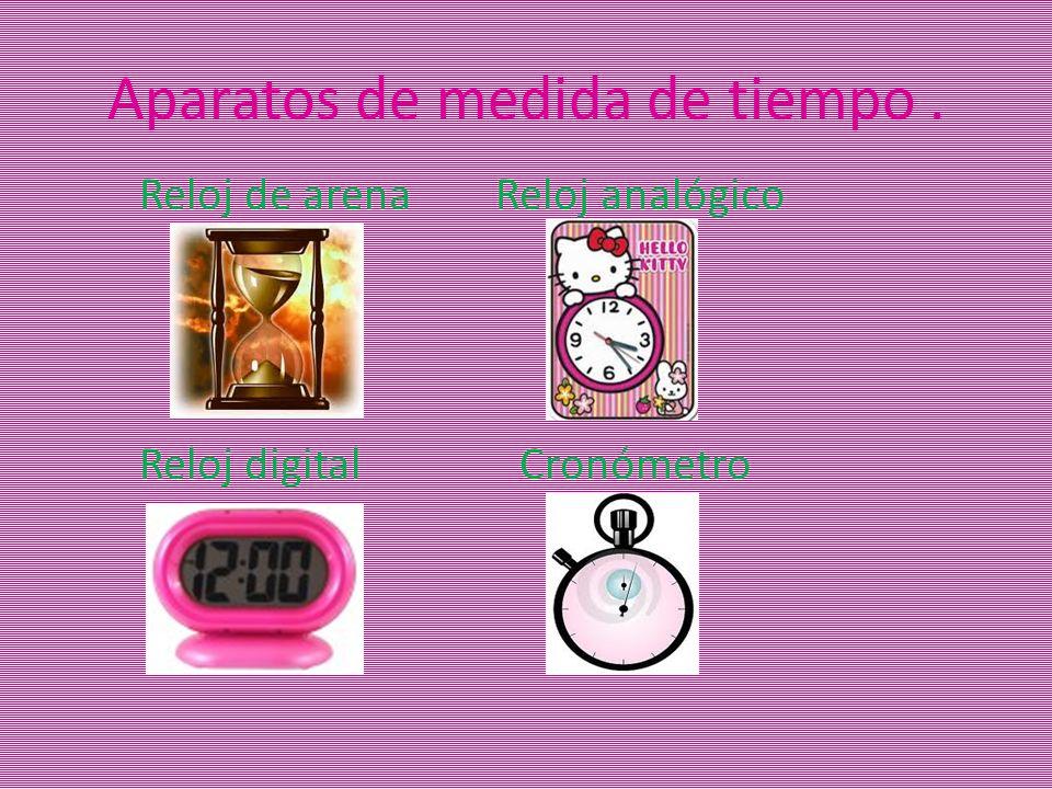 Aparatos de medida de tiempo. Reloj de arena Reloj analógico Reloj digital Cronómetro
